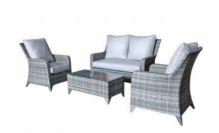 Sarah High back 4 seater sofa set with coffee table in Grey with Silver Grey cushions
